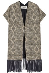 Valentino Fringe Trimmed Woven Cotton And Silk Blend Coat Sand