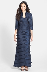 Adrianna Papell Washed Satin Gown And Bolero Eclipse