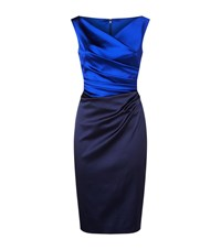Talbot Runhof Gathered Satin Pencil Dress Female Blue