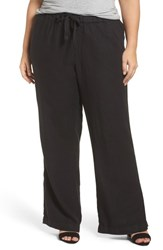 Caslon Plus Size Women's Linen Track Pants Black