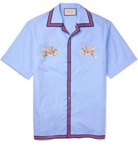 Gucci Camp Collar Embroidered Cotton Shirt Light Blue
