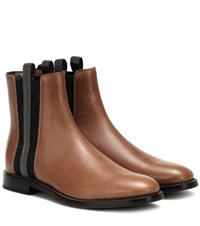 Brunello Cucinelli Embellished Leather Chelsea Boots Brown
