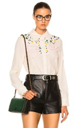 Coach 1941 Western Embellished Top In Abstract Neutrals White Abstract Neutrals White