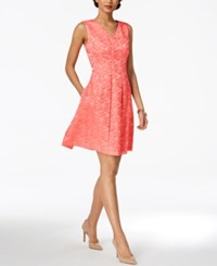 Ellen Tracy Printed Fit And Flare Dress Coral