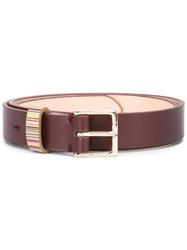 Paul Smith Striped Detail Belt Red
