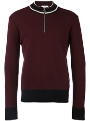 Ami Alexandre Mattiussi Zipped Collar Sweater Red
