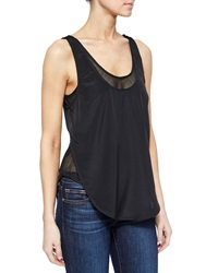 Madison Marcus Open Back Layered Mesh Tank Black