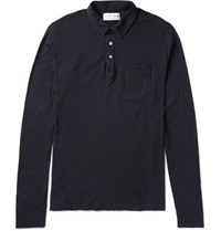 Officine Generale Slim Fit Garment Dyed Cotton Jersey Polo Shirt Navy