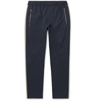 Stella Mccartney Tapered Striped Cotton Drawstring Trousers Blue
