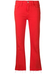 Current Elliott Cropped Fitted Jeans Red