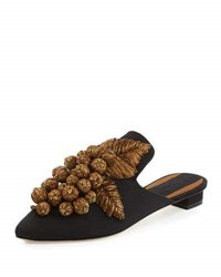 Sanayi313 Grappola Embroidered Mule Black Gold Black Gold