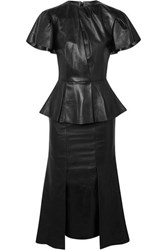 Alexander Mcqueen Leather Peplum Midi Dress Black