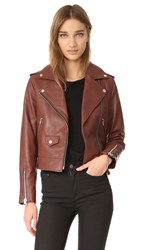 Mackage Baya Sleek Leather Jacket Brick