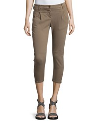 Brunello Cucinelli Equestrian Narrow Cotton Pants Taupe