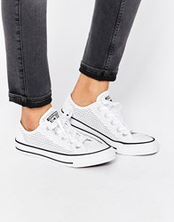 Converse All Star Chuck Taylor Perforated Canvas Ox White Plimsoll Trainers White