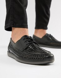 Red Tape Woven Lace Up Shoes In Black