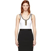 Balmain White And Black Knit Button Bodysuit