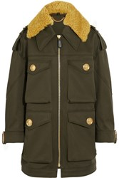 Burberry Prorsum Oversized Shearling Trimmed Cotton Parka Army Green
