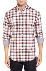 Thomas Dean Men's Classic Fit Dobby Plaid Sport Shirt