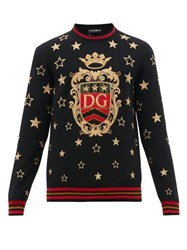 Dolce And Gabbana Star Embroidered Cashmere Blend Sweater Black Multi