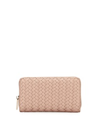 Neiman Marcus Woven Zip Wallet Rose Gold