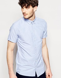 Minimum Oxford Shirt With Short Sleeves Slim Fit Navy