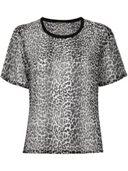 Saint Laurent Leopard Print Semi Sheer T Shirt Women Silk 36 Grey