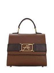 Alberta Ferretti Small Grained Leather Top Handle Bag Fantasy Brown