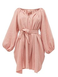 Loup Charmant Peasant Tunic Crinkle Cotton Mini Dress Pink