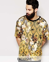 Reclaimed Vintage Drape T Shirt In Floral Baroque Print Gold