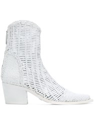 Alyx Woven Ankle Boots White