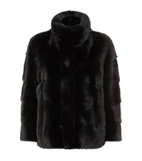 Lilly E Violetta 3 4 Length Sleeve Mink Fur Jacket Black