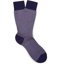 Pantherella Forsyth Patterned Cotton Blend Socks Dark Purple