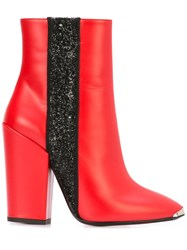 Amiri Glitter Stripe Ankle Boots Red