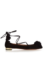 Aquazzura Sunshine Suede Fringed Flats Black