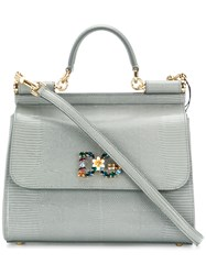 Dolce And Gabbana Jewelled Sicily Bag Leather Calf Leather Grey