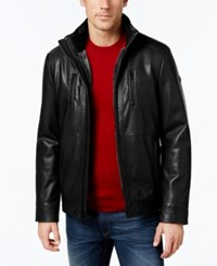 Calvin Klein Men's Faux Leather Faux Fur Lined Jacket A Macy's Exclusive Style Black