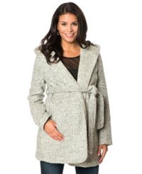 Motherhood Maternity Hooded Belted Open Front Coat Grey Boucle