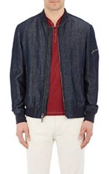 John Varvatos Chambray Bomber Jacket Blue