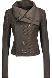 Rick Owens Sequined Embroidered Wool Blend Jacket Gray