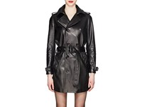 Saint Laurent Leather Double Breasted Trench Coat Black