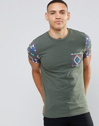 Asos Muscle T Shirt With Aztec Print Pocket And Sleeves In Khaki Black Forest Green