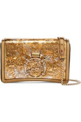 Christian Louboutin Rubylou Metallic Leather And Foil Shoulder Bag Gold