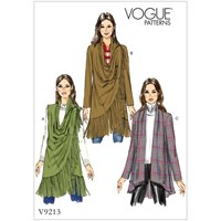 Vogue Misses' Women's Draped Collar Vest And Jackets Sewing Pattern 9213