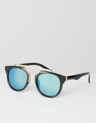 Missguided Geometric Frame Mirrored Sunglasses Green