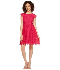 Jessica Simpson Lace Fit And Flare Dress Js7a9597 Azalea Pink