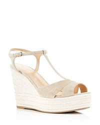Sergio Rossi Edwige T Strap Espadrille Wedge Sandals Off Grey