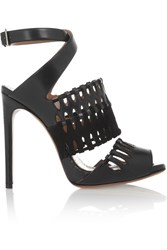 Alaia Cutout Karung Suede And Leather Sandals Black