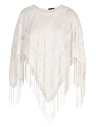 Chesca Pure Silk And Velvet Devore Fringed Poncho Cream