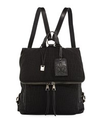 John Varvatos Embossed Nylon Backpack Black